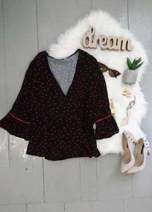 Актуальная блуза на запах в клубничках.1