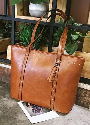 Женская сумка большая шоппер коричневая жіноча кожаная новая