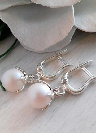 Серебряные серьги жемчужинки
