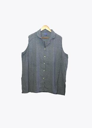 Женская рубашка-безрукавка в клетку большого размера 62-64 размера