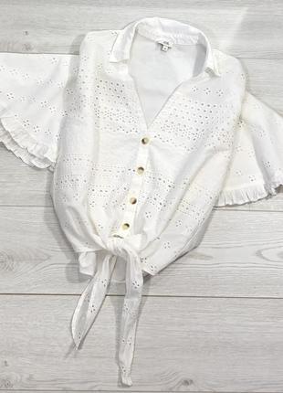 Хлопковая белая рубашка с выбитым рисунком river island