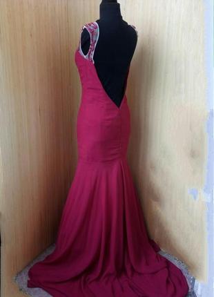 Красное вечернее длинное платье расшитое бисером  с открытой спиной / шлейфом высокий рост3