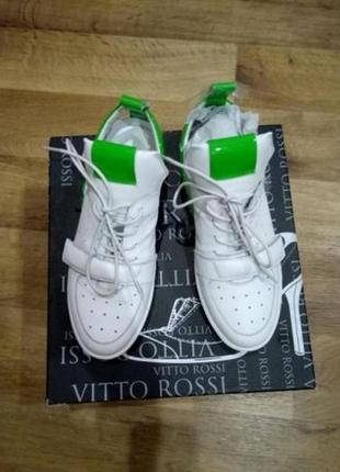 Новые кроссовки хайтопы кеды белые натуральная кожа размер 38