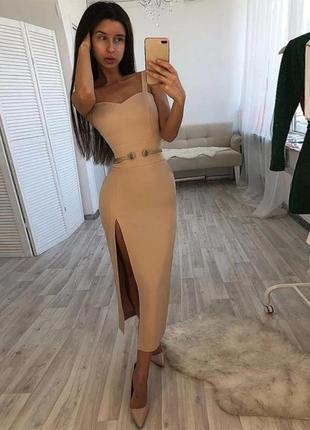 Шикарное сексуальное гусарское платье футляр макси нюд беж herve leger3 фото