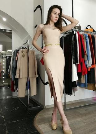 Шикарное сексуальное гусарское платье футляр макси нюд беж herve leger6 фото