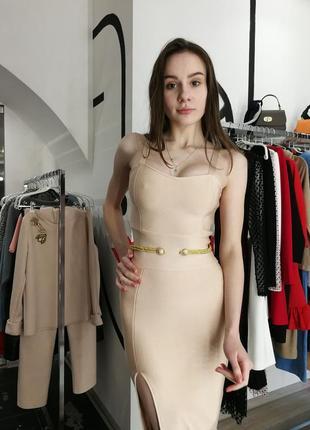 Шикарное сексуальное гусарское платье футляр макси нюд беж herve leger5 фото
