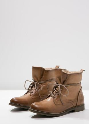 Р.40-40.5 pier one,германия,оригинал,натуральная кожа+мех! теплые,комфортные ботинки