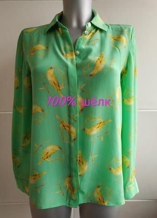 Изумительная шелковая блуза  leifsdottir anthropologie с принтом птиц