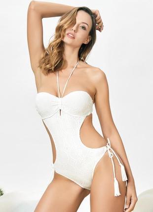 Брендовый кружевной купальник монокини с пуш-ап качество люкс smart and sexy