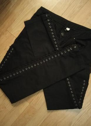 H&m фирменные джинсы штаны брюки на шнуровку