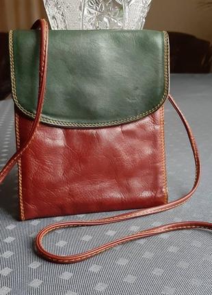 Кожаная красивая коричнево зеленая сумка органайзер фирмы tula