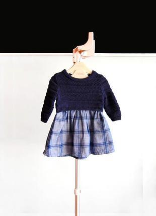 Шикарное платье с джинсовым низом от 0м / 56 см