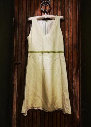 Салатовое платье sticky fingers signature с поясом бантом миди вискоза лен льняное