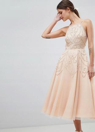 Роскошное тюлевое платье расшитое бисером и пайетками asos
