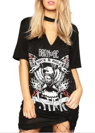 Черное платье футболка панк с чокером