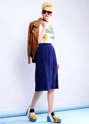 Крутая плиссированная синяя юбка миди гофре 💜 спідниця