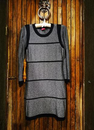 Платье серебристое с полосками сверкающее на вечеринку футляр мини вискоза