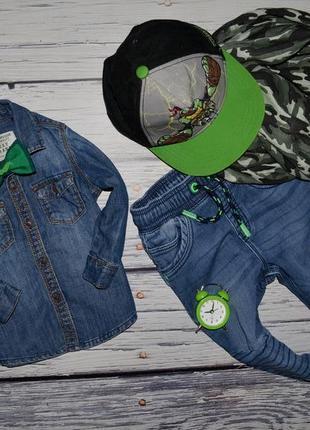 12 - 18 месяцев 86 см очень крутая модная фирменная джинсовая рубашка next некст