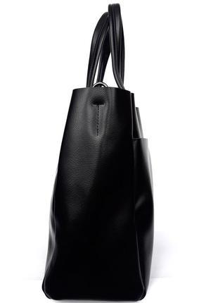 "Женская кожаная сумка ""mini kyiv perfection shopper"" черная2 фото"