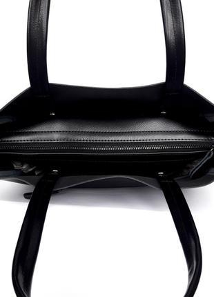 "Женская кожаная сумка ""mini kyiv perfection shopper"" черная3 фото"