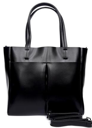 """Женская кожаная сумка """"mini kyiv perfection shopper"""" черная"""