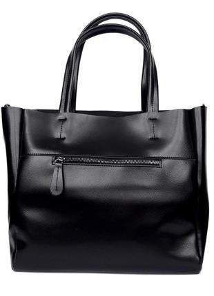 "Женская кожаная сумка ""mini kyiv perfection shopper"" черная5 фото"
