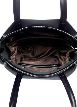 "Женская кожаная сумка ""mini kyiv perfection shopper"" черная4 фото"
