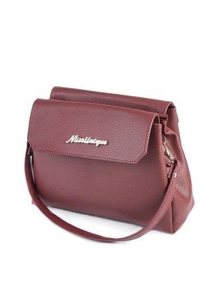 Бордовая маленькая сумка через плечо кросс боди с двумя ремешками