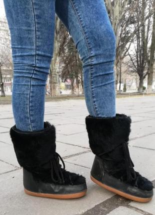 Fellini луноходы зимние ботинки натуральный мех и кожа