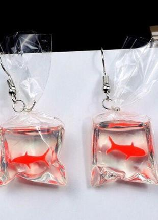 Оригинальные клёвые серьги с рыбками