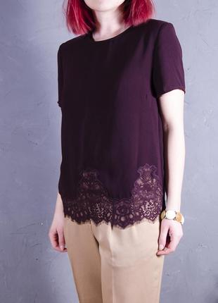 Вишневая туника с кружевным подолом, бардовая шифоновая блуза new look