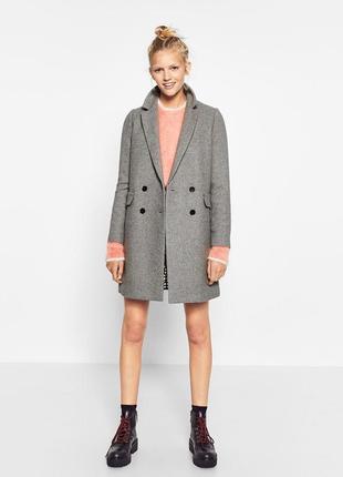 Стильное трендовое двубортное пальто