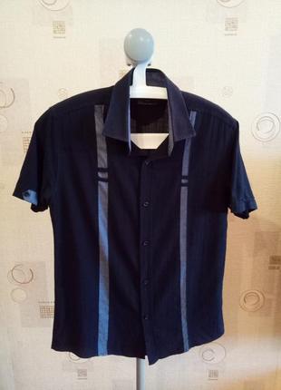 Мужская темно-синяя рубашка с коротким рукавом в клетку