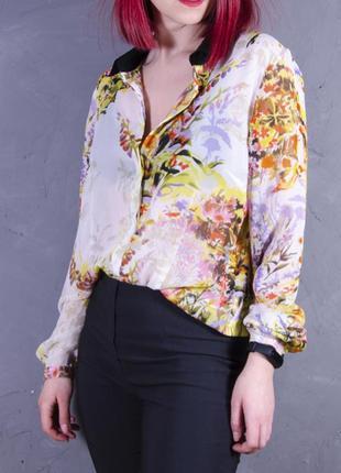 Женственная блуза с цветочным принтом oversize, шифоновая рубашка south pole