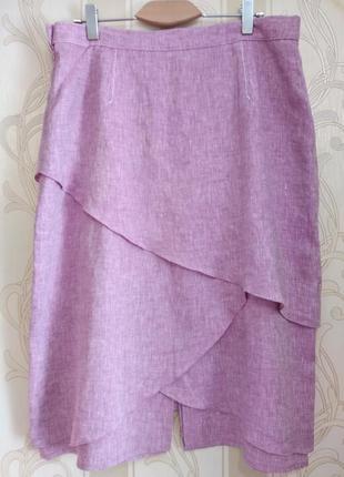 Трёхслойная льняная женственная юбка, gelco.