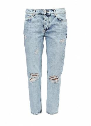 Выцветшие рваные джинсы варенки кроя бойфренд 1+1=3 🎁