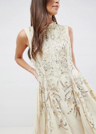 Boohoo design бежева декорована сукня на випускний доставка сутки3 фото