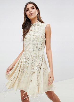 Boohoo design бежева декорована сукня