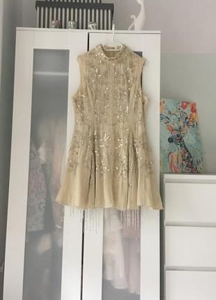Boohoo design бежева декорована сукня на випускний доставка сутки6 фото