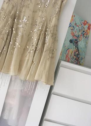 Boohoo design бежева декорована сукня на випускний доставка сутки5 фото
