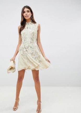 Boohoo design бежева декорована сукня на випускний доставка сутки4 фото
