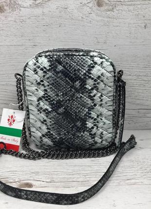 Женская итальянская кожаная сумка под питона жіноча італьянска шкіряна сумка
