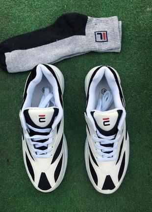 Кроссовки - в стиле fila (белые с черным)1
