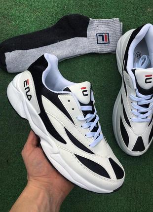 Кроссовки - в стиле fila (белые с черным)3