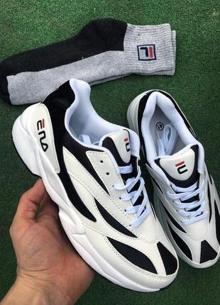 Кроссовки - в стиле fila (белые с черным)2