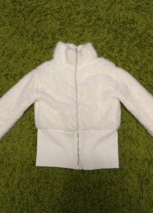 Легкая белая шуба из искусственного меха morgan р. 42-443 фото