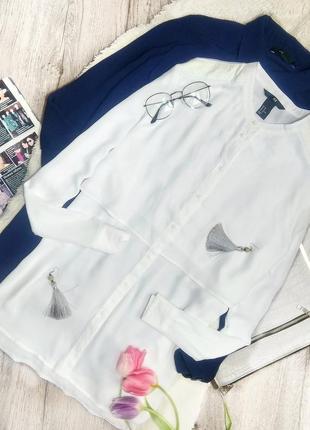 Белая рубашка с кожаными вставками без воротника
