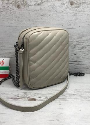Женская итальянская кожаная черная бежевая жіноча італійська шкіряна сумка чорна2