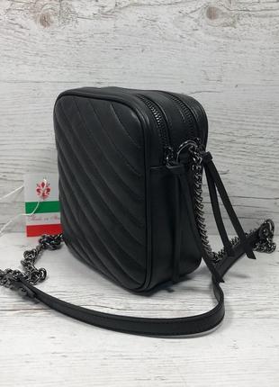 Женская итальянская кожаная черная бежевая жіноча італійська шкіряна сумка чорна7