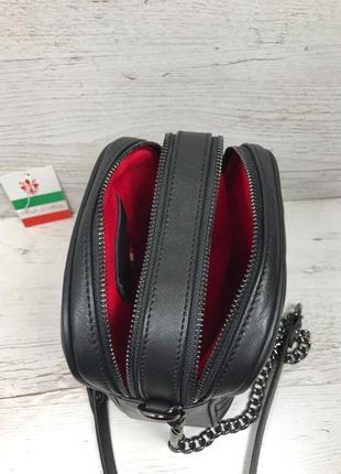 Женская итальянская кожаная черная бежевая жіноча італійська шкіряна сумка чорна8